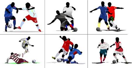 world player: Seis episodios de Soccer. Color de ilustraci�n de vector para dise�adores