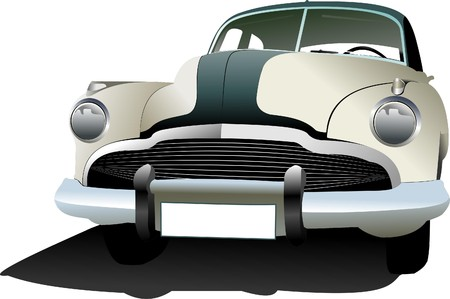 chevy: Old vintage car. Colored illustration for designers