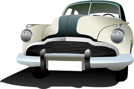 classic car: Old vintage car. Colored illustration for designers