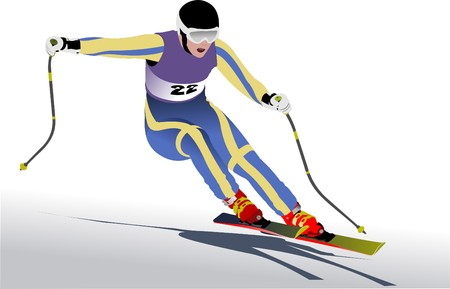 mountain skier: Colored  illustration of skier Illustration
