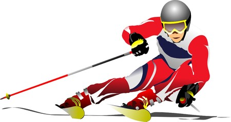 Colored  illustration of skier image Vector