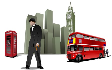 telephone booth: Few London images on city background.  illustration