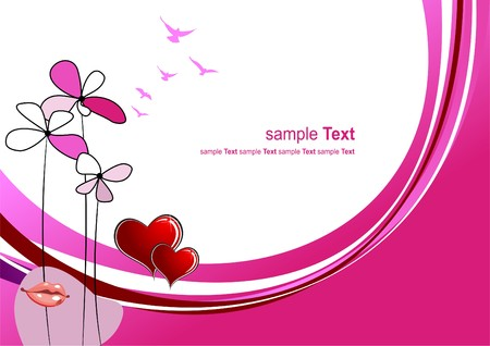 Valentine`s day background with hearts and lips images. Place for text.  illustration Stock Vector - 7797525