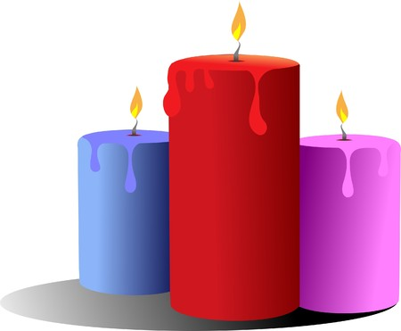 waxen: Three burning candles.   Illustration