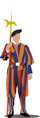 saint peter: Swiss guard in Vatican.  illustration