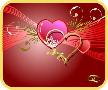 Red Greeting card for  Valentine`s Day with hearts image.   Stock Vector - 7797547