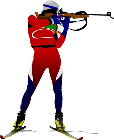 move gun: Biathlon runner colored silhouettes.  illustration Illustration