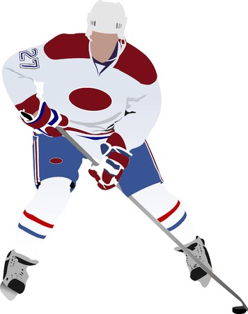 Ice hockey player. illustration Illustration