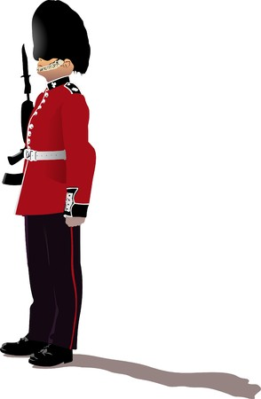 bayonet:  image of beefeater isolated on white