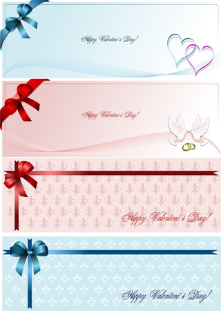 Set of four Envelope with for Valentine`s Day.   Vector