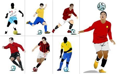 jugadores de soccer: Jugadores de f�tbol. Ilustraci�n color para dise�adores Vectores