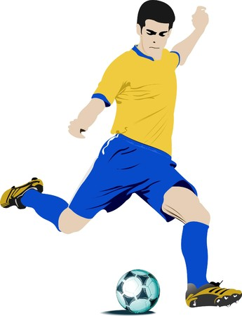 goal keeper: Voetballers. Gekleurde illustratie voor ontwerpers Stock Illustratie