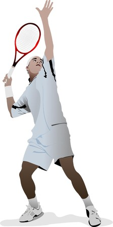 Tennis player. Colored   illustration for designers Vector