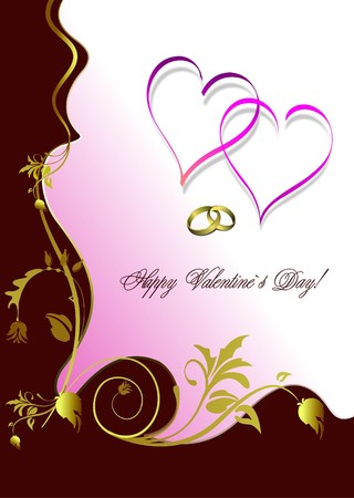 Greeting floral valentine`s day with hearts.  Vector