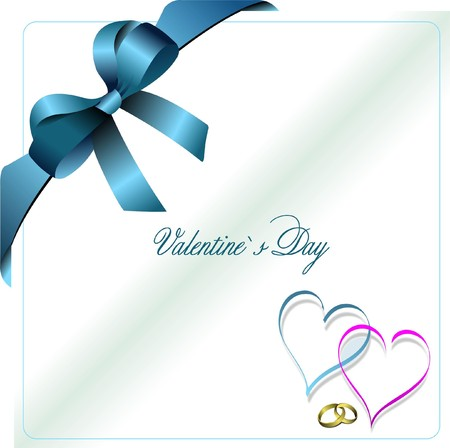 samples: Envelope with blue  ribbon corner and hearts.  Illustration