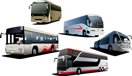 coach bus: Five city buses. Tourist coach. illustration Illustration