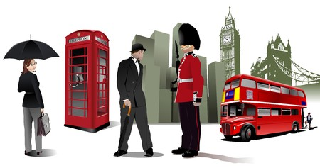 telephone booth: Few London images on city background. illustration Illustration