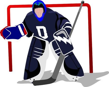 ice hockey player: Ice hockey player. Goalkeeper .   illustration