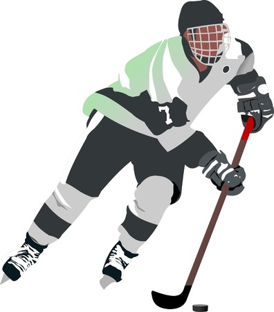 ice hockey puck: Ice hockey player.  illustration