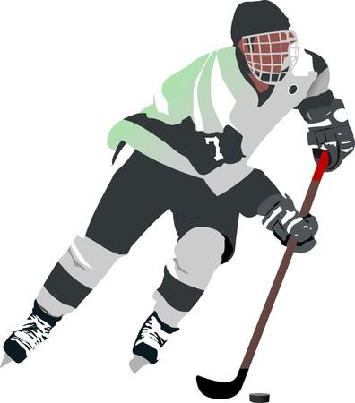 ice hockey puck: Ice hockey player.  illustration