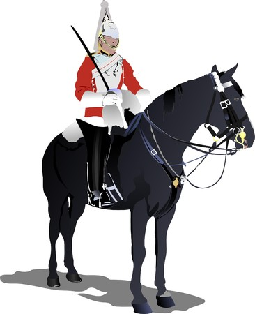 beefeater:   image of London guard on a horse isolated on white