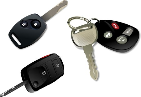 keyring: Car key with remote control isolated over white background  Illustration