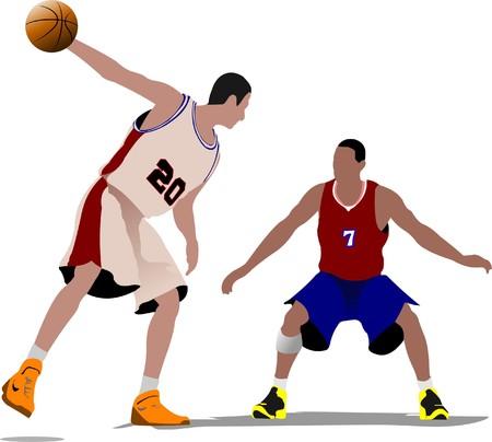 Basketball players illustration Stock Vector - 7797588