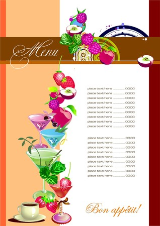 serviette: Restaurant (cafe) menu. Colored   illustration for designers Illustration