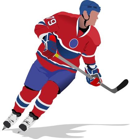 ice hockey puck: Ice hockey players.   illustration