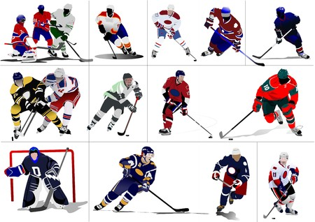 puck: Ice hockey players.   illustration