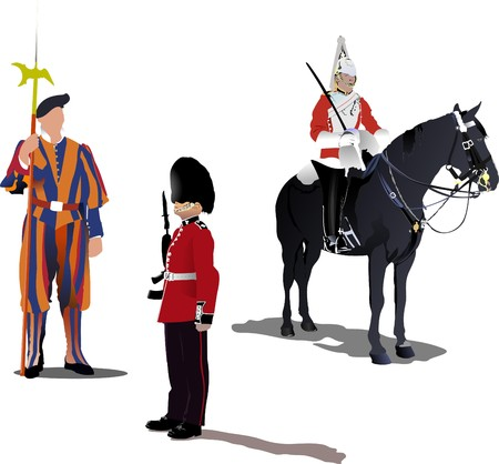 beefeater:  image of three guards on a horse isolated on white