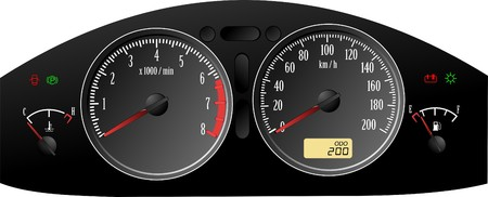dashboard: Speedometer. Accelerating Dashboard. Includes speedometer, tachometer, fuel control.  Illustration