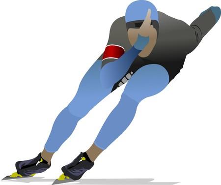 Speed skating illustration Stock Vector - 7797585
