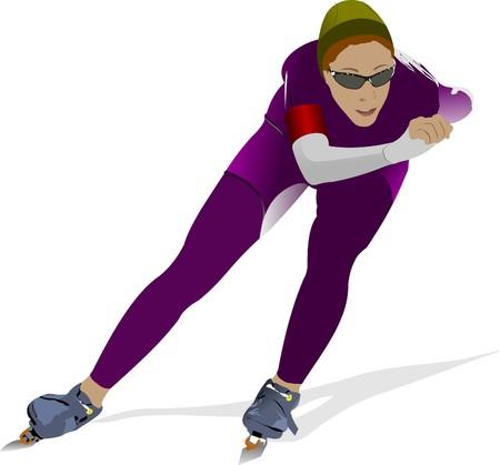 Speed skating.  illustration Vector
