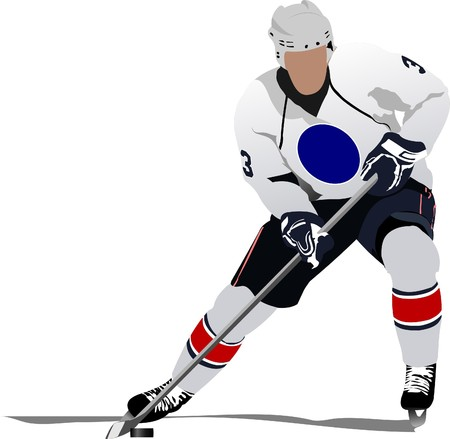ice hockey player: Ice hockey players.  illustration