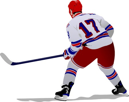 hockey game: Ice hockey players.  illustration