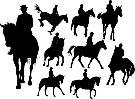 horse running: Horse  rider silhouettes. Colored   illustration for designers