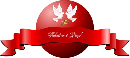 Valentine`s day banner on isolated background.  illustration.  Vector