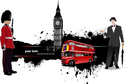 Grunge banner with London and bus images.  illustration