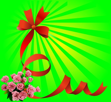 Festive red bow on green background with roses