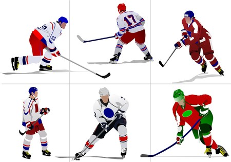 hockey player: Ice hockey players.   illustration