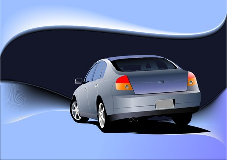 Abstract blue background with car sedan image.  illustration Vector