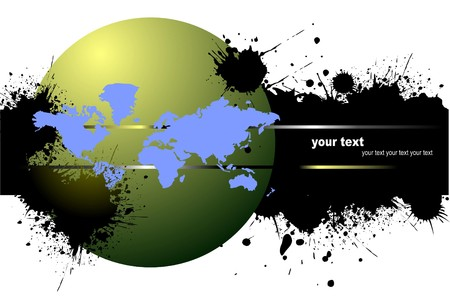 blemish: Grunge blot banner with earth image.  illustration
