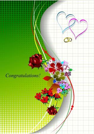 Yellow green wedding invitation.  illustration Vector