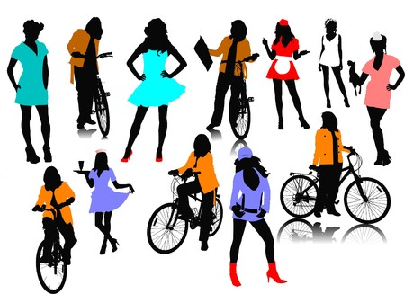 Twelve woman silhouettes. illustration Stock Vector - 7797667