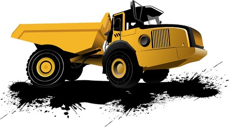 mine: Isolated dump truck.  illustration