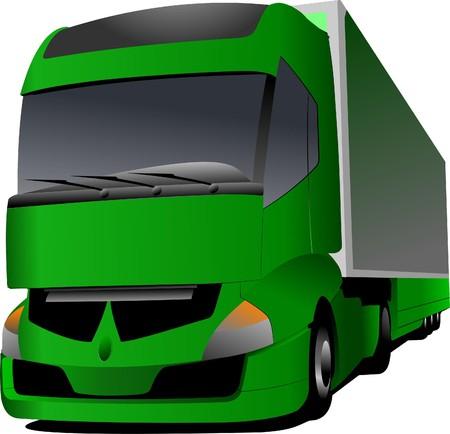 illustration of green truck Vector