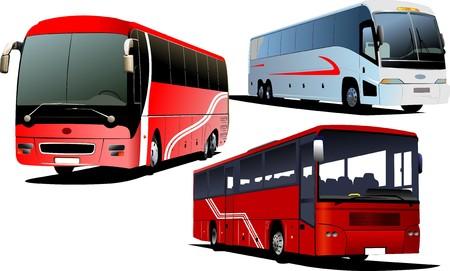 excursion: Three Tourist buses.   illustration