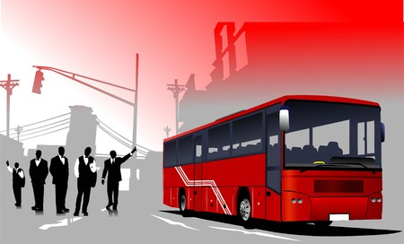 Business people  silhouettes and bus image on urban background.  Stock Vector - 7797633