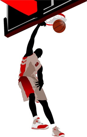 Basketball players.   illustration Stock Vector - 7912613